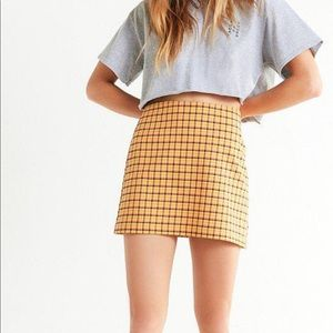 Urban Outfitters XS Yellow and Pink plaid skirt